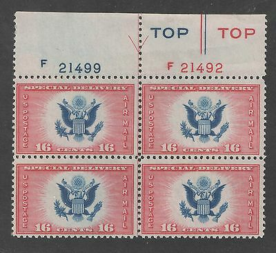 US Sc CE2 Special Delivery Top Plate Block of 4 MNH