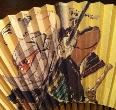Lot 2 VINTAGE JAPANESE HAND PAINTED RICE PAPER Pictorial HAND FAN