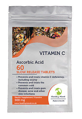 Vitamin C ASCORBIC ACID Slow Time Release Antioxidant 30/60/90/120/180 Tablets