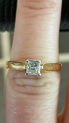 Genuine 18Ct Solid Yellow Gold 0.50Ct Solitaire Diamond Engagement Ring+Val$3015