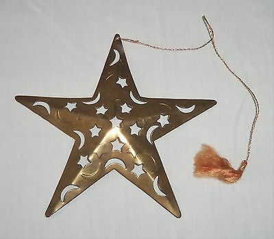 Vtg Metal Brass STAR & MOON Christmas Tree Ornament Made In India
