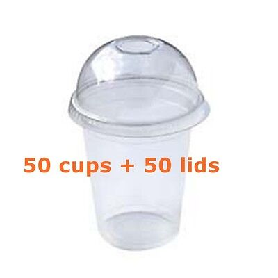 100 PC Plastic cups Cold cups and dome lids 15 OZ 425ml 50cups+50lids