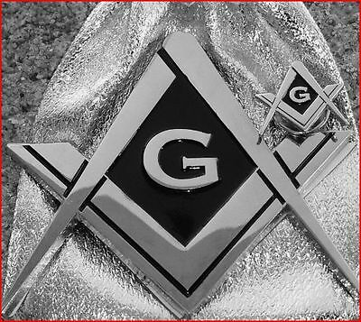 Masonic Square & Compass Chromed Metal Auto Emblem & Silver Plated Lapel Pin