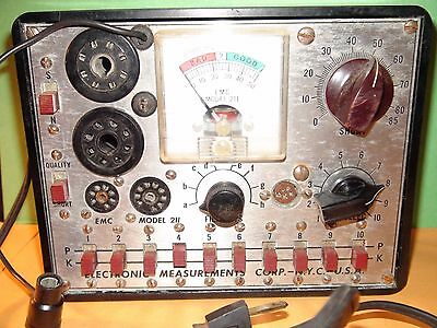Electronic Measurements Corp  Model 211 Tube Tester Black Bakelite