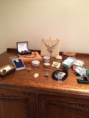 Costume Jewellery Mixed Lot Vintage & New Old Stock Earrings Boxes Necklaces Etc