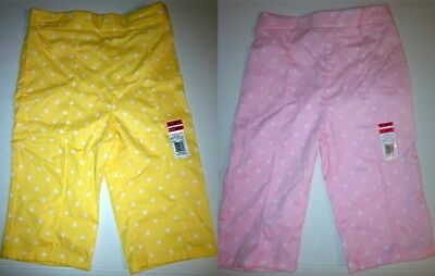 Baby Toddler Girls Capri Polka-Dot Pants 100% Cotton Lemon, Pink 3T 4T NEW