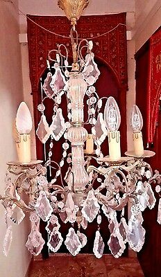 antique french gold bronze chandelier 19TH 5 light crystal pendant ceiling light