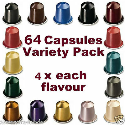 Nespresso Starter Pack, 64 x Capsules, 16 Flavours (Sold Loose) 4 x Each Flavour