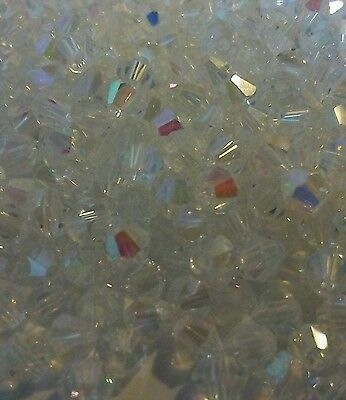 200 Crystal Glass Bicone Beads Jewellery Making/Tiaras - Clear AB - 4mm uk