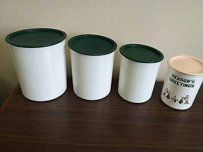 Tupperware Hunter Green Pink storage Canister Set of 4  for Flour, Sugar ....