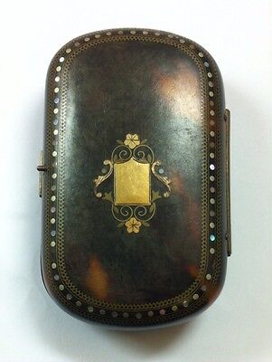Antique Victorian Faux Tortoiseshell Purse With Vacant Gold Cartouche