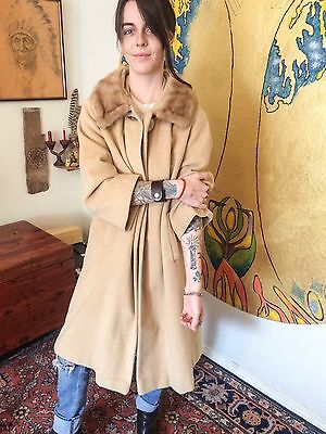 Vintage 60s Mink Collared Ladies Wool Coat Size MD Classic!