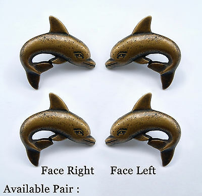 2 PAIR Right & Left Solid BRASS ANTIQUE DOLPHIN Cabinet Door KNOB Drawer Pull