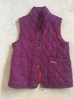 Girls Barbour Gilet In Purple Age 8-9