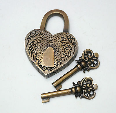 Vintage CARVED Love Heart Forever PADLOCK with Two SKELETON Key Solid Brass Lock