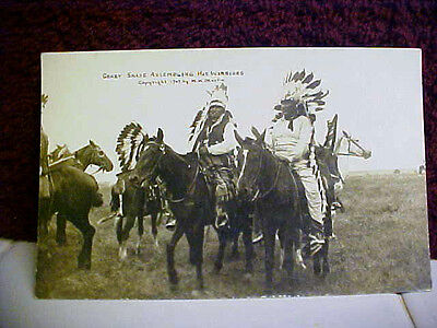 Native American Indian Photo Postcard Crazy Snake Assembling His Warriors 1909