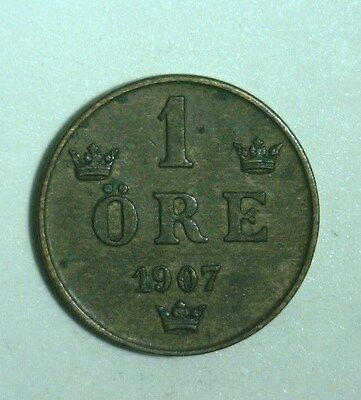 1907  Sweden   1 Ore   Great Looking Coin!!!
