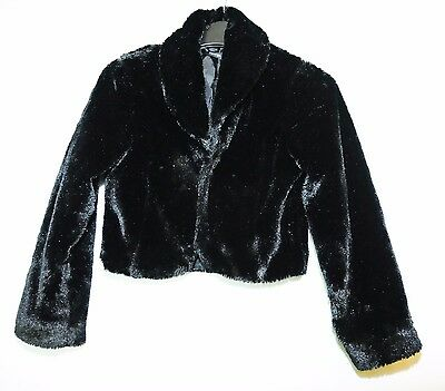 Black George Girls Fluffy Special Occasion Jacket Shrug 10-11 Years 140-146 Cm