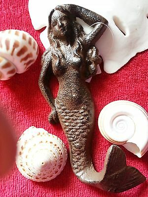 New Vintage Look Cast Iron Mermaid Nautical Hook Hanger Decor Robe Hand Towel