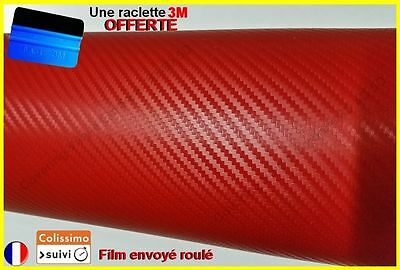 film vinyle carbone 3D rouge thermoformable sticker adhésif covering 152cmx20cm