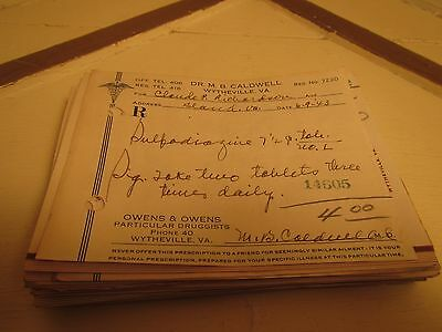 Vintage Lot 100+ Prescriptions from 1940's Southwestern Virginia Apothecary.
