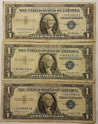 1957, 1957-A, & 1957-B $1.00 *STAR NOTE* Silver Certificate One Dollar Bills