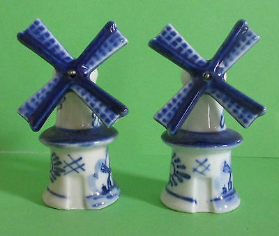 Blue And White Windmill Salt And Pepper Shakers
