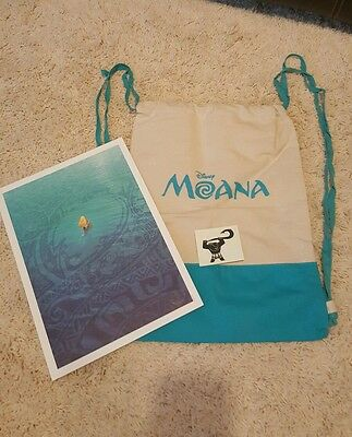 SDCC D23 Disney Moana Lithograph Print Backpack Tattoo Maui Limited NEW RARE