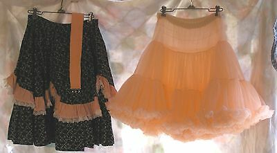 Square Dance Black and Peach Skirt, Petticoat and Belt Size Small