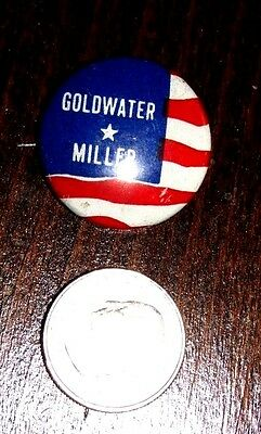 Goldwater *Miller Campaign Pin/ Button 1964 Presidential Election