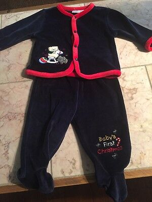 Infant Boy Baby Headquarters Blue Velour Baby's First Christmas Outfit NWT 3-6 M