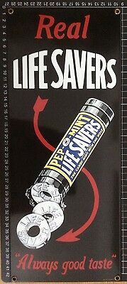 LIFESAVERS Vintage Reproduction American ENAMEL SIGN grocery advertising