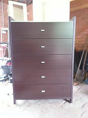 Chest of Drawers Dark Timber with Glass Top