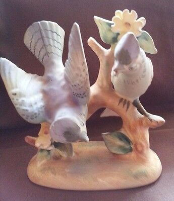 Pair of Blue Jays 1726 on a branch Porcelain Figurine