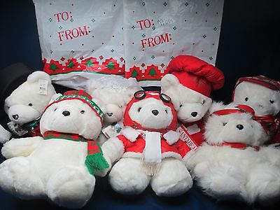 Santa Bear Lot of 7 Excellent Shape 3 w/ Bags