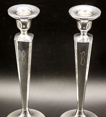 Sterling Silver 925 Vtg Taper Candlesticks Ornate Floral Candle Stick Holder 10""