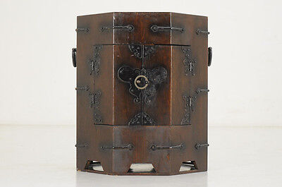 Asian Antique-style Octagonal Small Wood Box Free Shipping 655y18