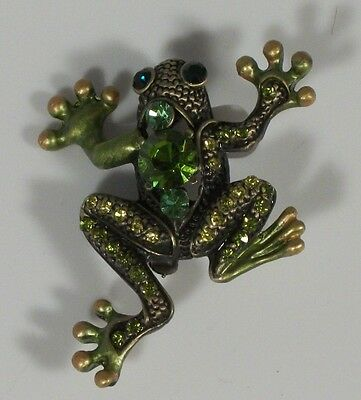 Elegant Green Crystal Gold Enamel Frog Pin Brooch