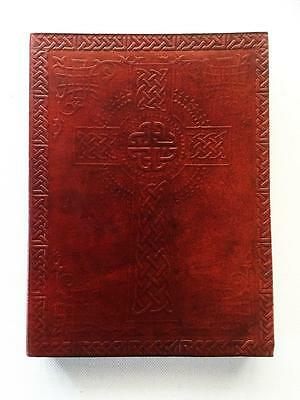 Celtic Cross Leather Bound Journal Book Of Shadows Large, Blank Pages