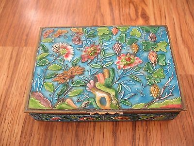 Antique Chinese Enamel Cloisonne Flower Grapes Box
