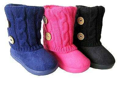 New Girls Youth Black Camel Dress Buttons Winter Knitting Boots Shoes Sz 11-3