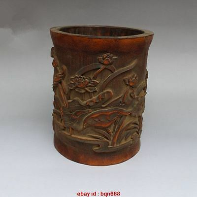 Old Chinese Bamboo carved Lotus Rilievo Pen Container Brush Pot Pencil Vase
