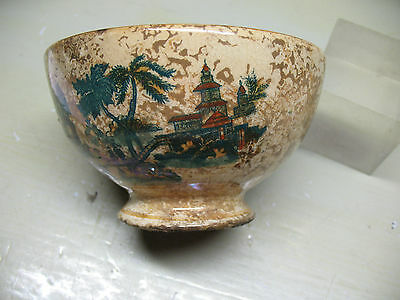 STONEWARE BOWL LUSTER GLAZE w/ PAGODAS  VERY  OLD  ORIGINAL  GERMANY