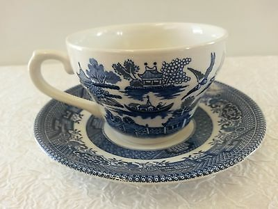 Vintage Set Of Churchill Blue Willow Tea Cup And Saucer