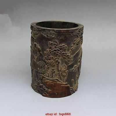Antique China Bamboo carved Eight Immortals Send blessings Brush Pot Pencil Vase