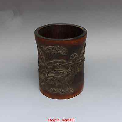 Antique China Bamboo carved Cock crow Pen Container Brush Pot Pencil Vase