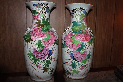 Pair Vintage Chinese hand painted carved porcelain vase