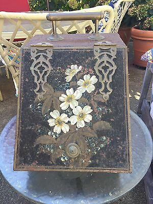 Antique Floral Hand Painted Victorian Coal Scuttle Fire Place Bin Tool Holder
