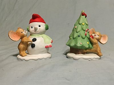 HOMCO Christmas Mice with Snowman and Tree #8905 - Set of 2 With Box!
