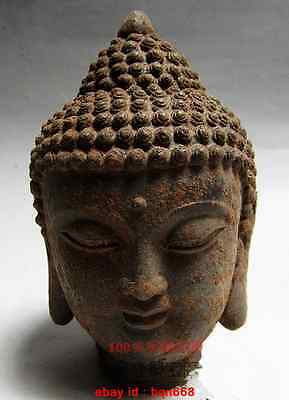 Old Chinese Buddhist Fengshui Iron Carved Buddha head Statue